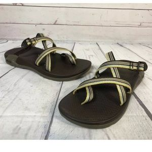 Chaco Slides Strappy Toe Loop Sport Sandal 8 Green